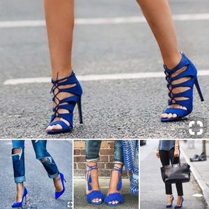 Seychelles blue suede sandal heels w/ ankle strap